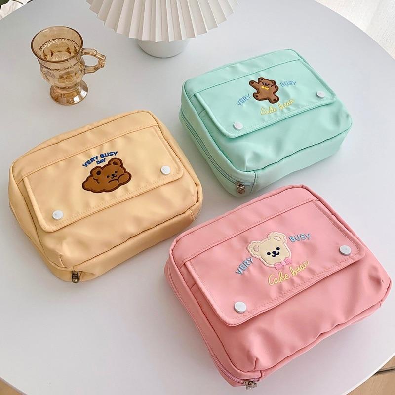 Korean Cute Cosmetic Cases Fashion Student Pencil Bag Holder Large Capacity Handbook Storage Case  Makeup Organizer