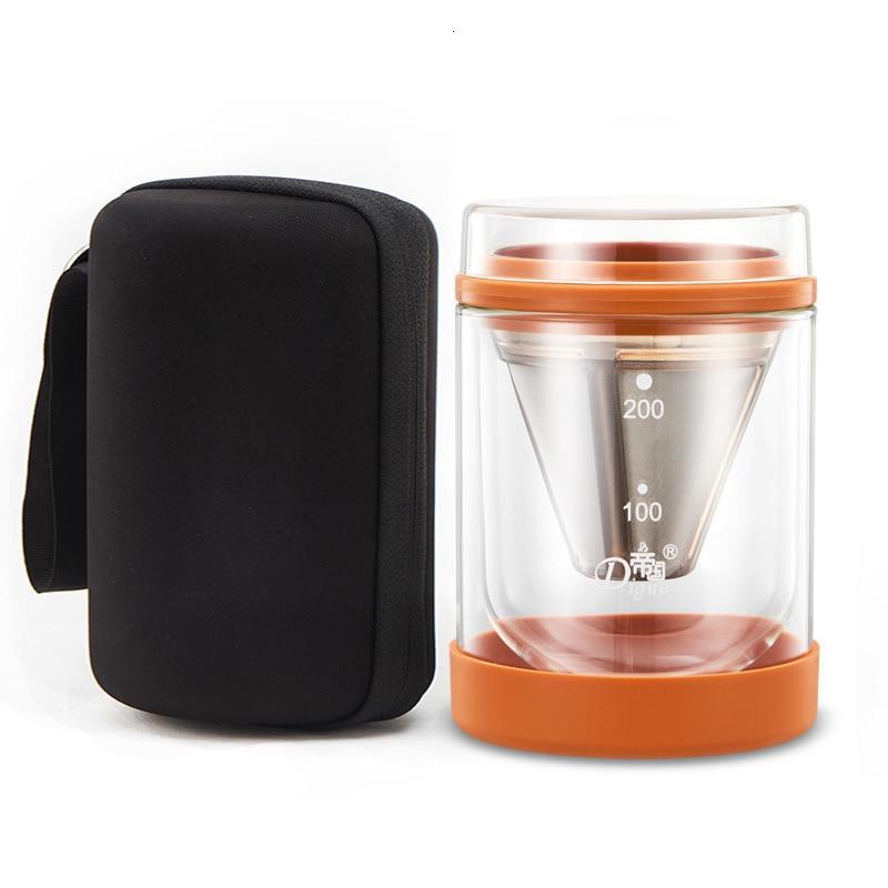 كبسولات قهوة نسبرسو صغيرة محمولة ، للسفر في الهواء الطلق ، فلتر بالتنقيط ، جدار مزدوج ، طقم أكواب زجاجية ، صانع الشاي ، وعاء مشروب بارد