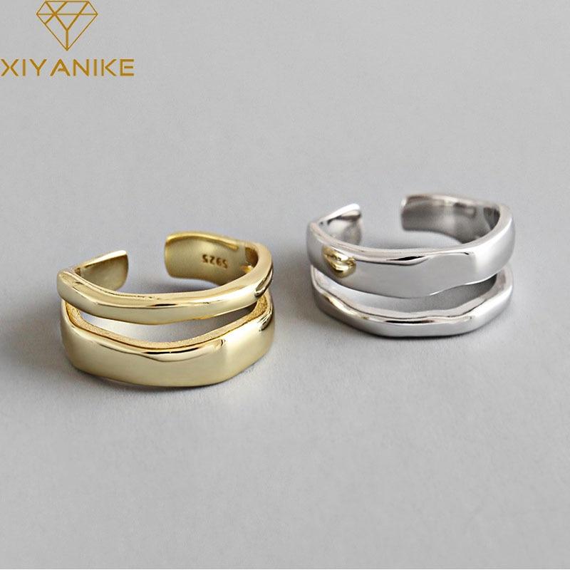 XIYANIKE 925 Sterling Silver Trendy Elegant Twist Two Circle Rings for Women Couple Simple Geometric