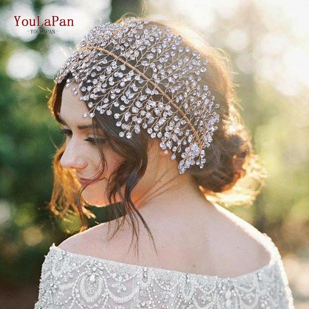 TOPQUEEN HP258 Luxury Crystal Wedding Headband Handmade Rhinestone Bridal Headpieces Wedding Hair Jewelry Headband Accessories