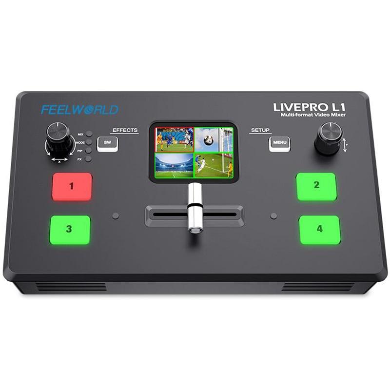 Многоформатный видеомикшер FEELWORLD L1 V1, переключатель с 4 HDMI входами, производство камер, прямая трансляция, USB3.0