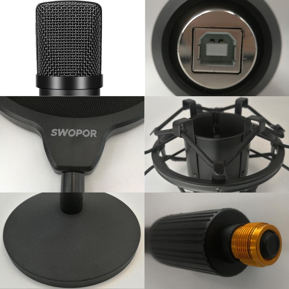 Condenser Microphone Kit SWOPOR UMK009 Mic for Podcasting on Tabletop Desktop Black enlarge