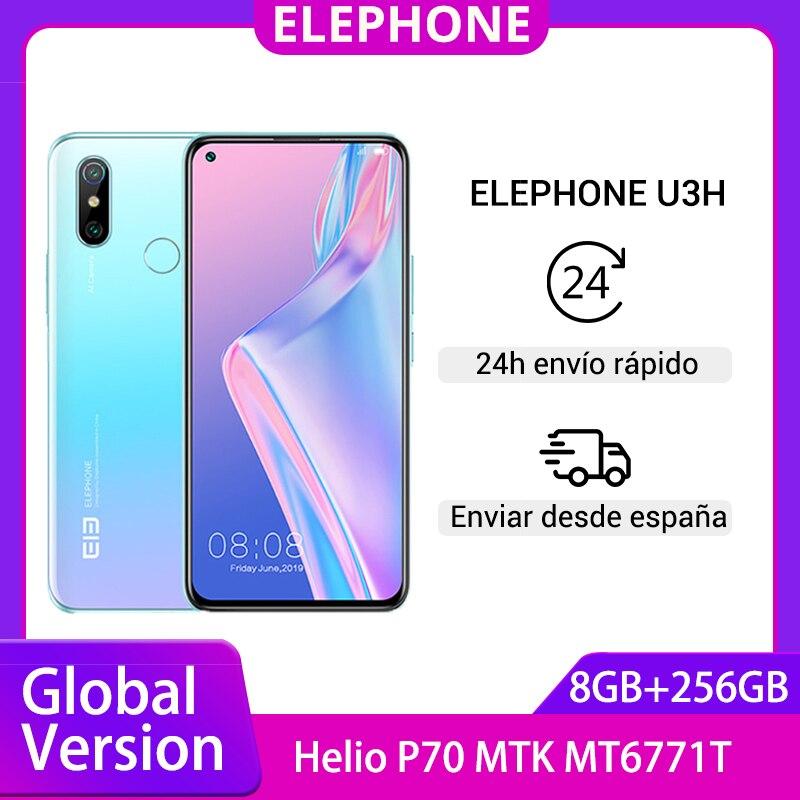 Elephone-teléfono inteligente U3H, versión Global, teléfono móvil con 8GB 256GB, procesador Helio P70, pantalla FHD de 6,53 pulgadas, cámaras duales de 48.0mp, Android OS 9, carga inalámbrica