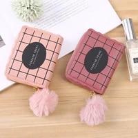 simple women short wallet lattice pattern versatile clutch bag letters small ladies zipper pu card holder furry ball coin purse