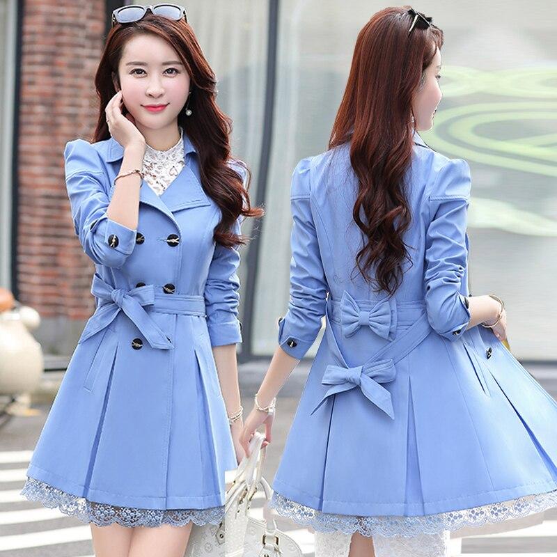 Abrigo cortavientos coreano de primavera y otoño para Mujer 2020 KJ2475 Largo...