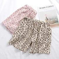 summer casual loose leopard print plus size couple shorts ladies three quarter pants thin style simple cotton soft home pants