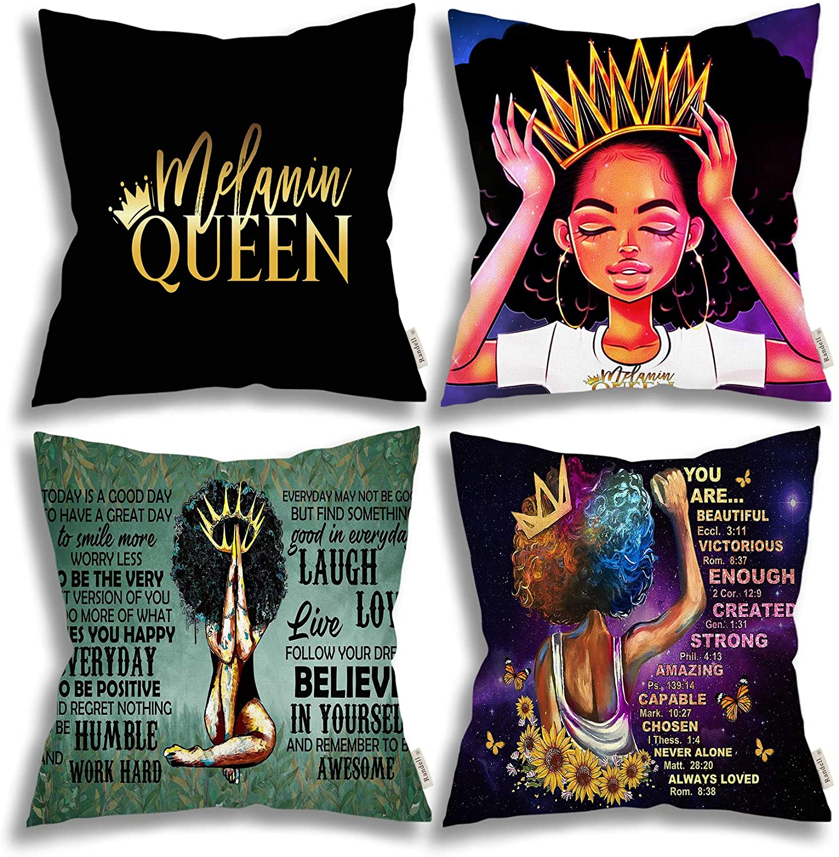 فتاة أمريكية أفريقية صبغة سوداء الملكة المخدة مريحة وعصرية ساحة وسادة الفراش غرفة المعيشة غطاء أريكة 4