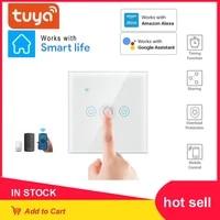 Interrupteur mural intelligent sans fil TUYA  wi-fi  1 2 3 4 boutons  pour la maison  compatible avec Alexa et Google Home Assistant