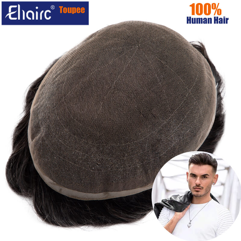 Men Toupee Full Lace Base Human Hair Replacement Systems Unit Men's Wig Breathable Male Capillary Prothesis Natural Wig For Men