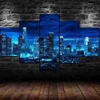 los angeles skyline at night 5 panel canvas picture print wall art canvas painting wall decor for living room poster no framed