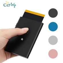 Porte-cartes professionnel automatique avec lecteur de pouce en métal porte-cartes de visite pour hommes et femmes