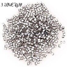 En gros 1000 pcs/lot 1.5mm 2mm perles en métal argent plaqué Tube sertissage fin perles pour la fabrication de bijoux