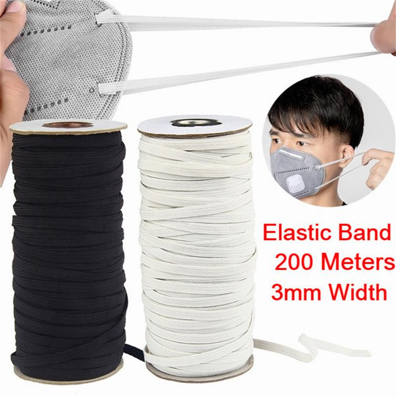 DIY Mask 200 Meter Length 1/4 Inch Width Braided Elastic Band White Elastic Cord Heavy Stretch High Elasticity Knit Elastic Band