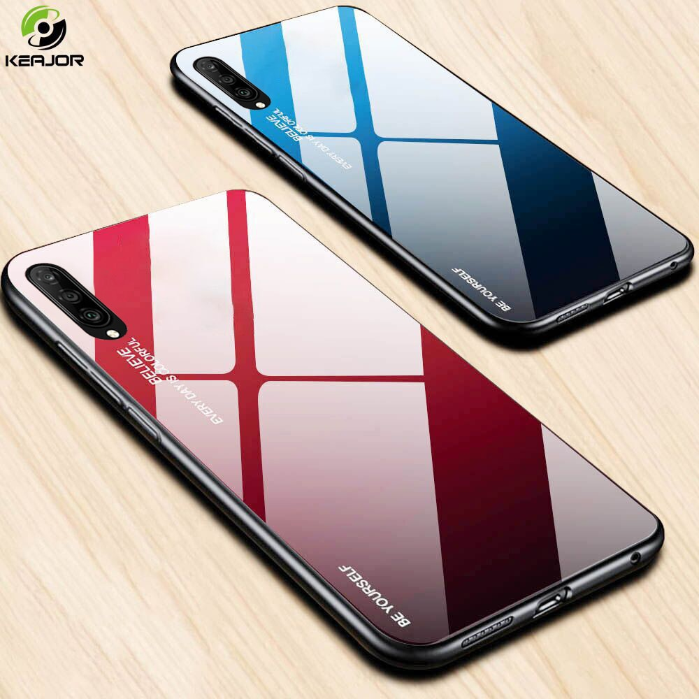 Capa dura para huawei y9s y9 s caso capa de silicone macio borda amortecedor luxo gradiente vidro temperado capa traseira para huawei y9s caso