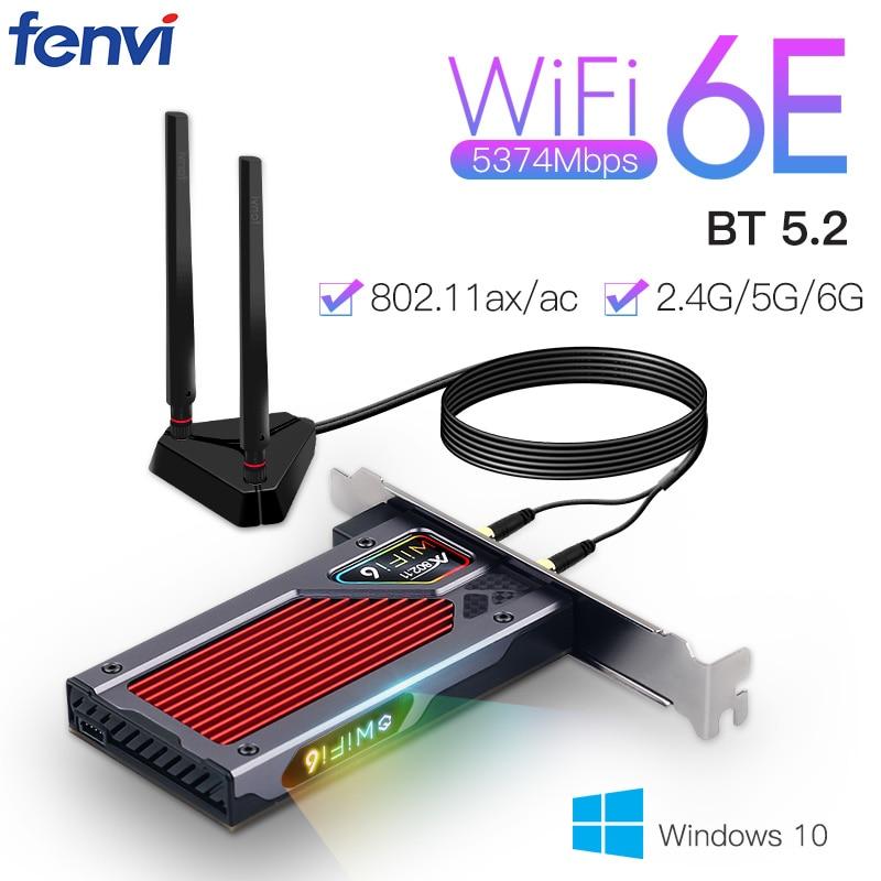 Fenvi سطح المكتب واي فاي 6E AX210 PCIe واي فاي محول 2.4Ghz/5G/6G بلوتوث 5.2 802.11ax إنتل AX210NGW اللاسلكية Wifi6 بطاقة ويندوز 10