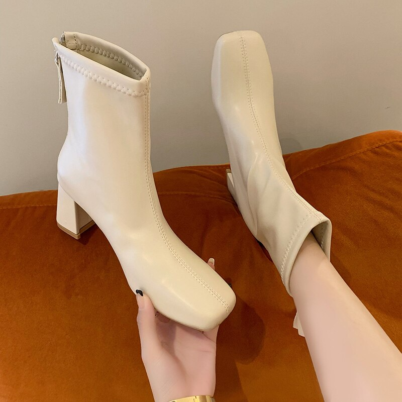 2022 Ankle Boots for Women Square Toe Fashion Shoes Warm Winter Short Boots Zipper Square Heels Comf
