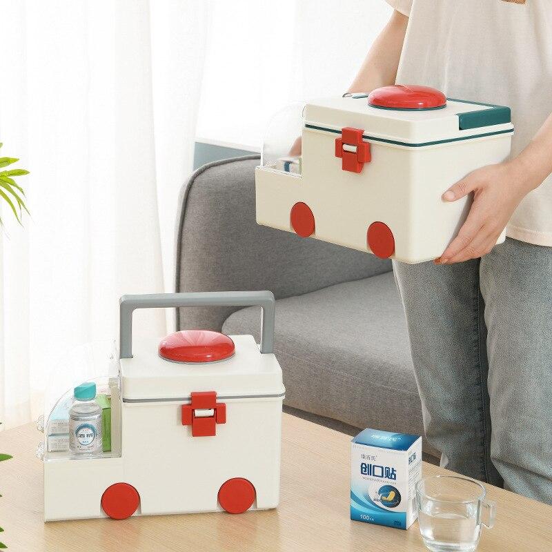 صندوق دواء منزلي صندوق تخزين محمول سعة كبيرة صندوق تخزين إسعاف على شكل صندوق دواء صندوق دواء