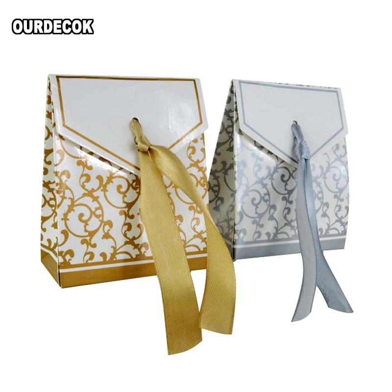 Cajas de recuerdos de boda de lujo, color dorado o plateado, para...