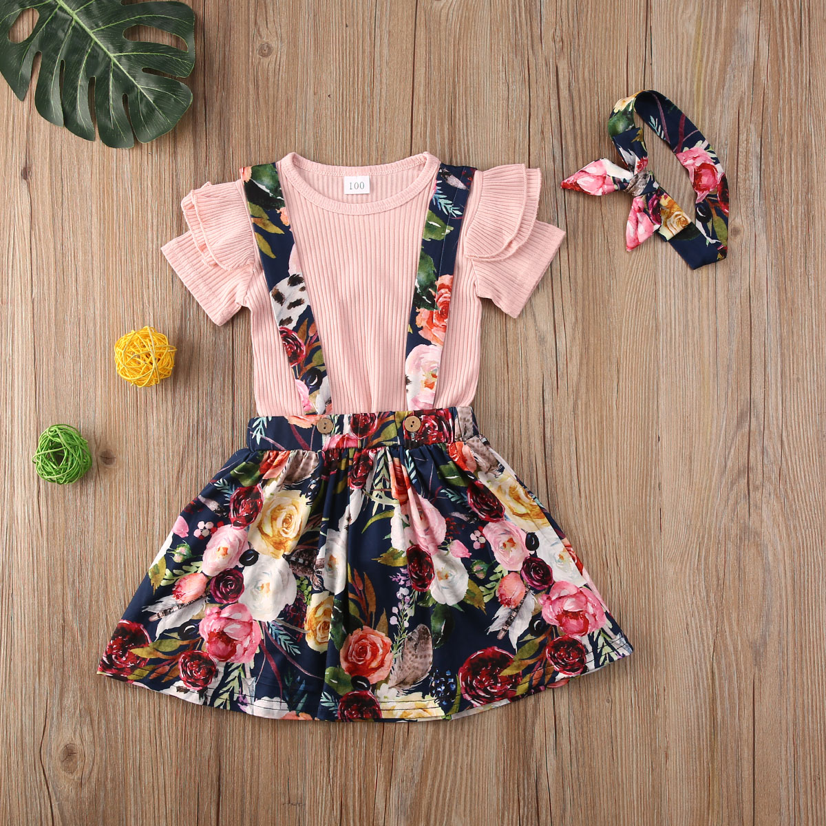 Sweet Kids Baby Girl 18M-5 conjunto de ropa rosa de manga corta Camiseta Tops + faldas de Liga Floral 3 uds trajes ropa Casual