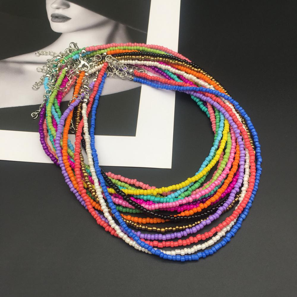 OMY simple choker necklace women fashion seed beads stand necklace of women girl for party  beach travel trendy jewelry