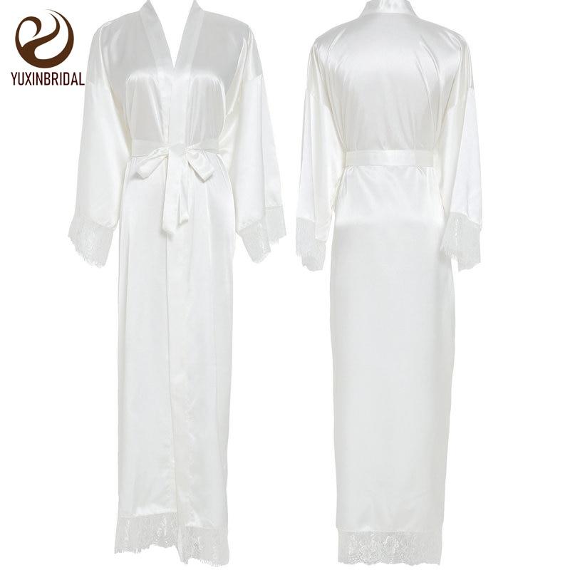 Yuxinbridal 2019 novo cetim de seda rendas robes da dama de honra vestidos de noiva casamento longo robe roupão das mulheres robe branco