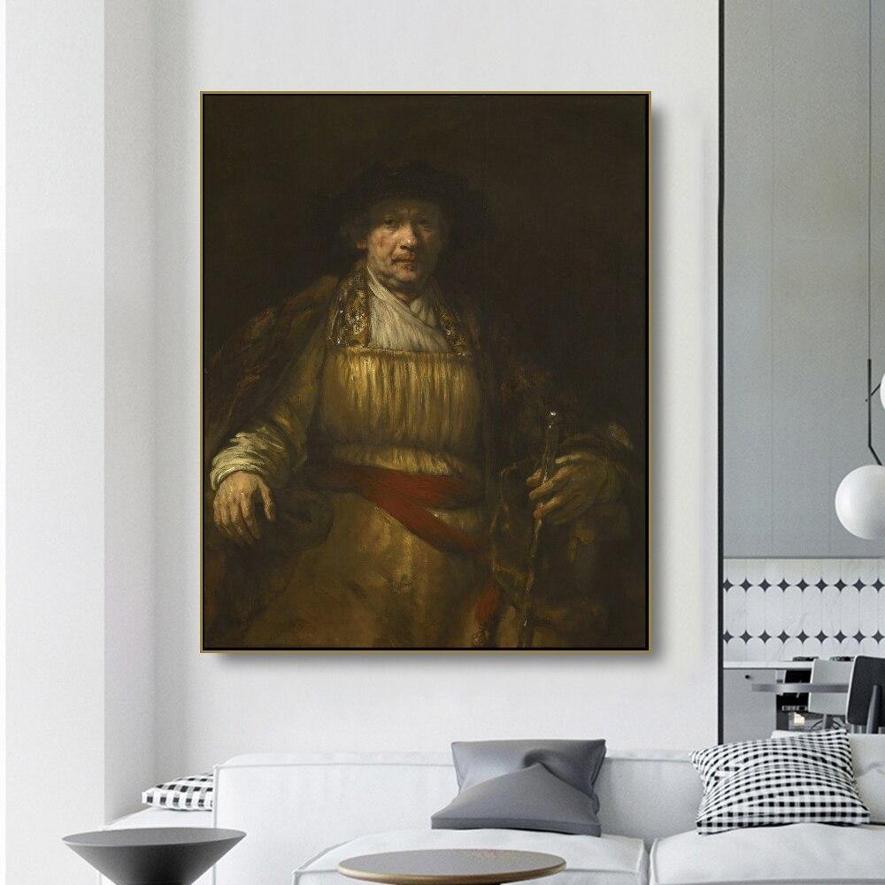 Lienzo arte pintura al óleo Self autorretrato remrembrandt póster imagen decoración de la pared decoración moderna del hogar para el estudio de la Oficina de la sala de estar