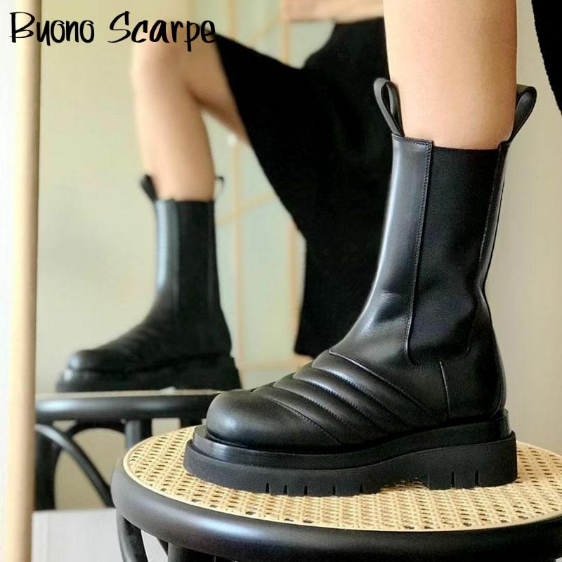 Platform Boots Winter Genuine Leather Chelsea Boots Women Luxury Brand Designer Ladies Botas Mujer Matin Boots Short Booties prowow new high quality genuine leather lace up women winter boots sexy platform boots chunky heel boots botas mujer