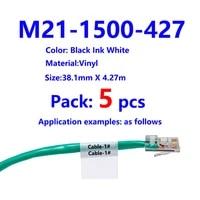 5pack bmp21 plus m21 1500 427 printable sleeves labeling tapes black on white vinyl film bmp21 plus cable label maker bmp21 la