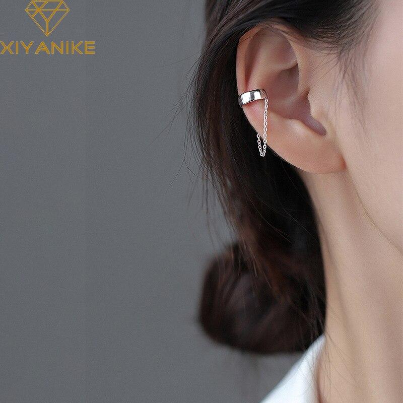 Xiyanike 925 prata esterlina francês não-perfurado clipe de orelha de corrente fêmea simples único vento frio brincos fresco casal artesanal presente