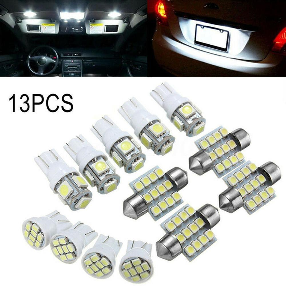 13pcs/Set T10 Auto Car Xenon White Replacement LED Light Bulbs Kit for Stock Interior & Dome & Licen