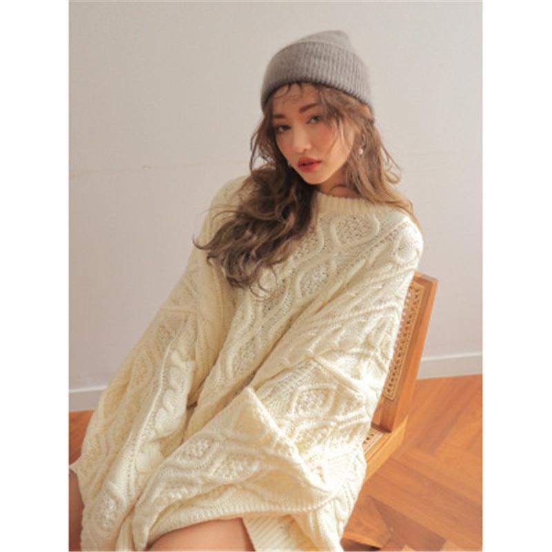 Suéter de mujer de invierno estilo coreano Chic cuello redondo Twist diamond patrón de manga larga overtized jumpers casual knit 5A010
