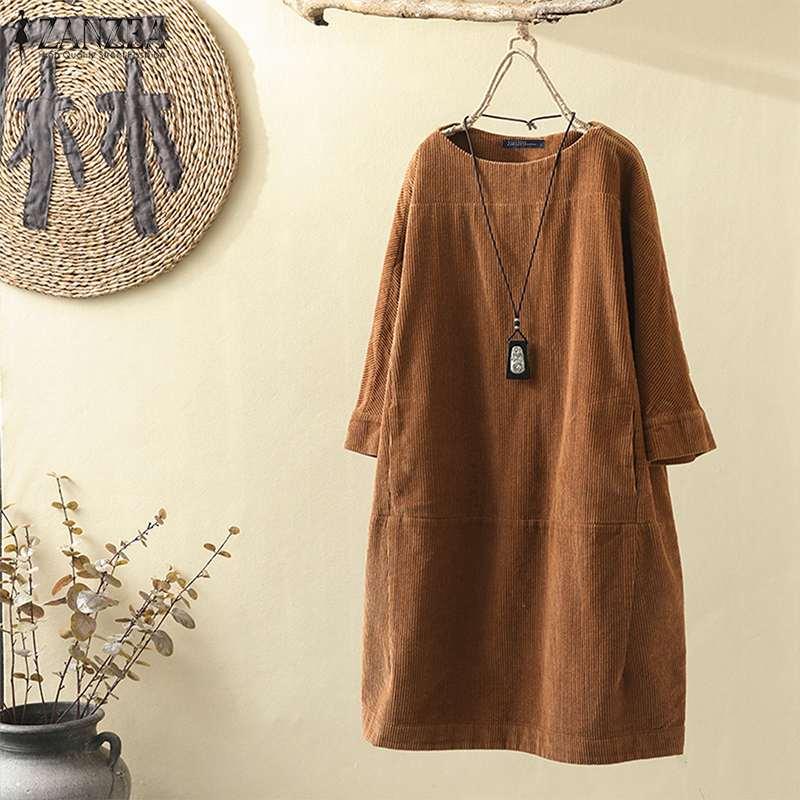 Mujeres Vintage Vestido de pana ZANZEA Otoño de manga larga sólido Midi Vestido Casual Camisa larga Vestido Retro de fiesta Vestido de sol Robe Top7