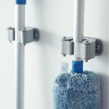 Wall Mounted Plastic Mop Holder Organizer Clip Adhesive Brush Broom Hanger Storage Rack Bathroom Home Garage Hanging Tools