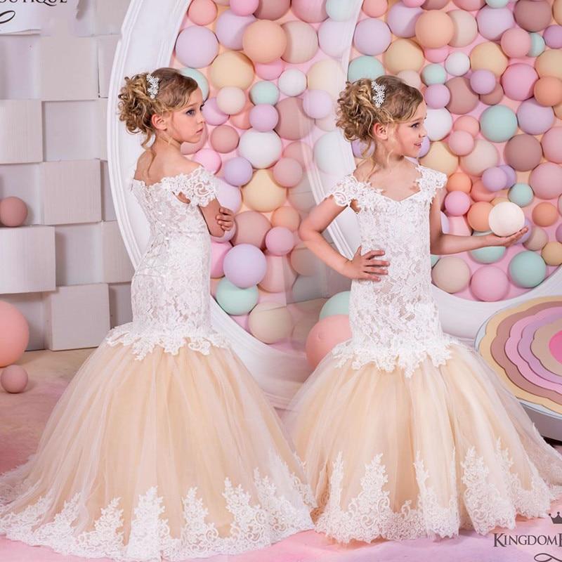 Vestido de flores para niñas, vestidos Vintage para niños, para fiesta de boda, vestido de baile Formal, Vestido largo de encaje para niñas, vestido de graduación para damas de honor