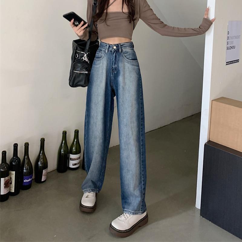 Denim Pants Autumn Korean 2021 Slim Fashion Age Reduction Versatile Washed Denim Tie Dyed Wide Leg P