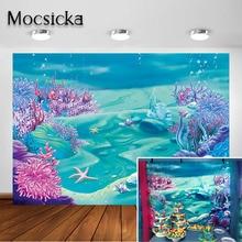 Mocsicka фон для фотосъемки с изображением морской русалки синее море под водой Детский праздник для будущей мамы декорация для дня рождения фон для фотосъемки