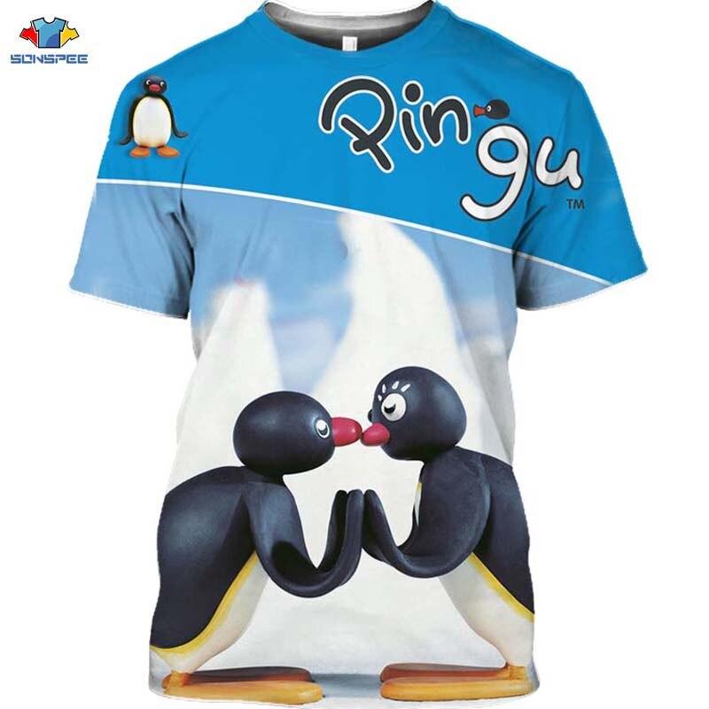 Sonspee cartoon pingu camiseta animal pinguim camiseta masculina neve montanha casal camisa hip-hop anime camisa feminina