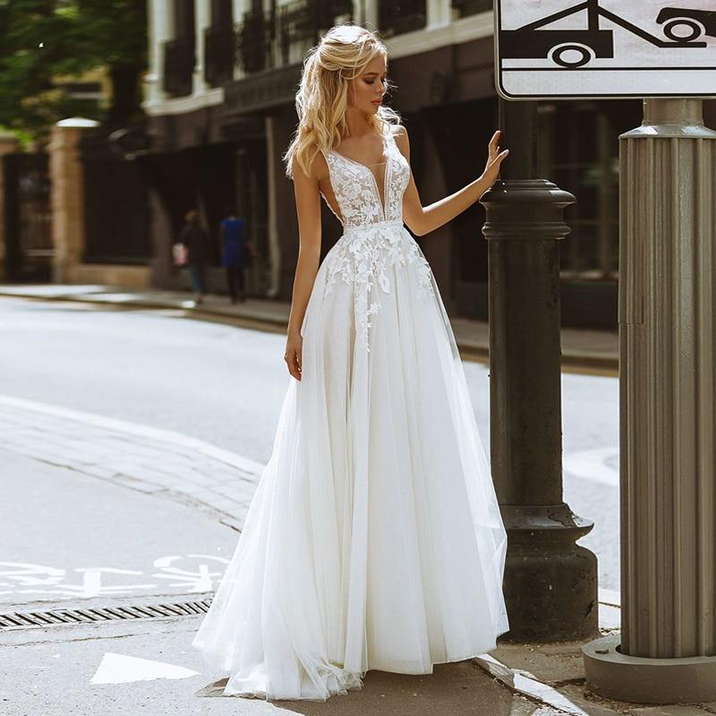 Eightale Boho Wedding Dresses V-Neck Appliques Lace A-Line Tulle Wedding Gown Beach Simple Bridal Dress bestidos de novia 2020