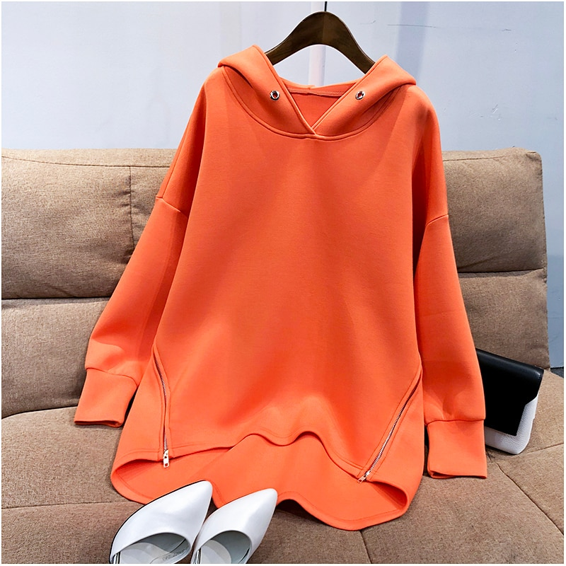 Womens Hoodies Sweatshirt Autumn Korean Thin Long Sleeve Side Zipper Harajuku Loose Oversized Pullovers Female Sudadera Mujer