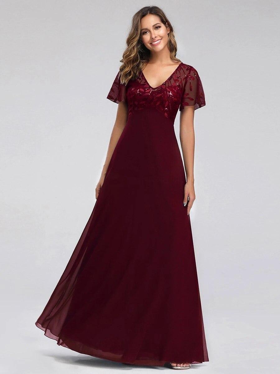Floral Lace Sequin Print Wholesale Evening Dresses With Cap Sleeve