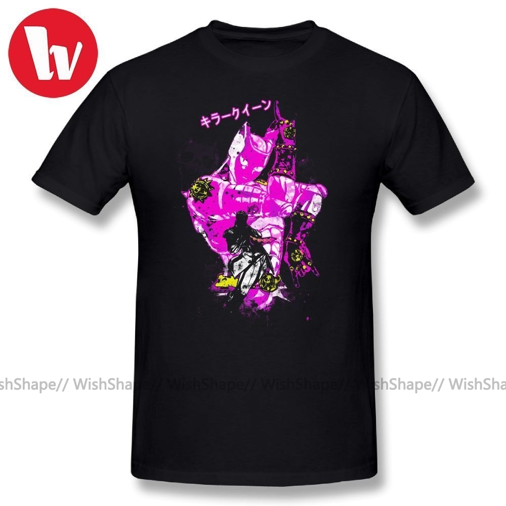 JoJo Music Tee Shirt Killer Queen Cartoon Print Casual T Shirts For Men Cotton T-Shirt Funny Summer Oversized 4XL 5XL