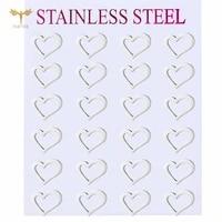 2021 new statement womens earrings asymmetric hollow heart ear stud couple earrings anniversary gift stainless steel jewelry
