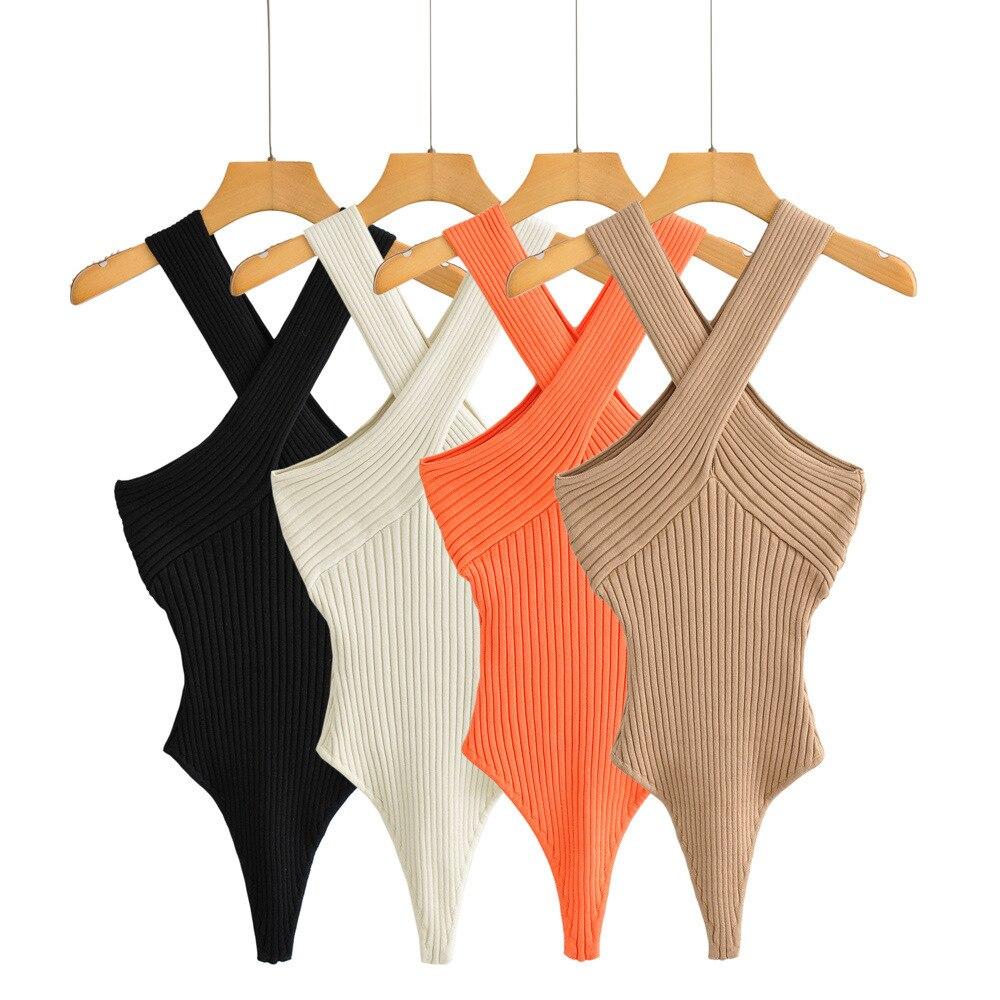 One Piece Women Fashion Knitted Solid Cross V Neck Sleeveless Black Beige Orange Khaki Bodysuit Body