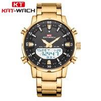 Часы наручные мужские кварцевые из нержавеющей стали, брендовые Роскошные армейские Спортивные Повседневные водонепроницаемые, KAT-WACH