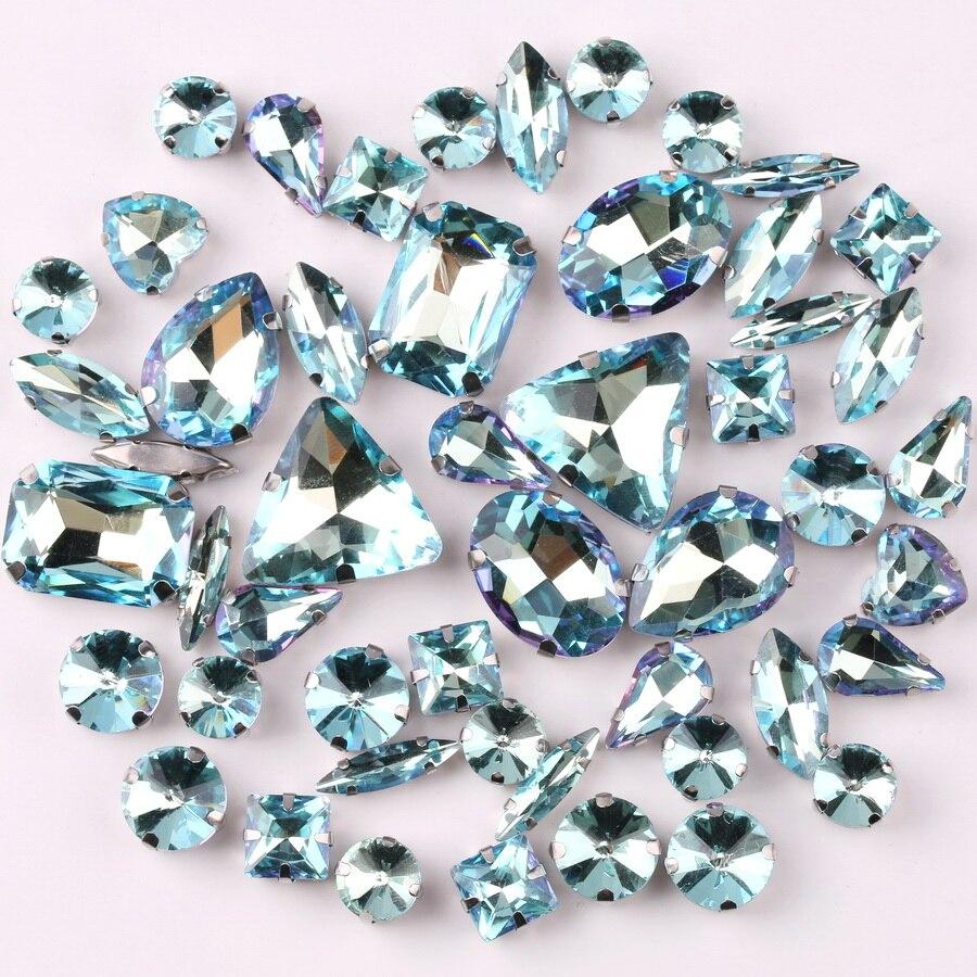 Montura de garra de plata 50 unids/bolsa mezcla de formas aguamarina vidrio de arcoíris cristal para coser rhinestone boda Vestido zapatos bolsas diy trim