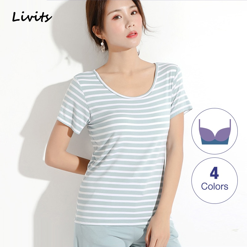 Women's Female T-Shirts Tshirts Tops Modal Built-in Bra Padded Round Neck Short Sleeve Stripe Elasticity Plus Size SA0068