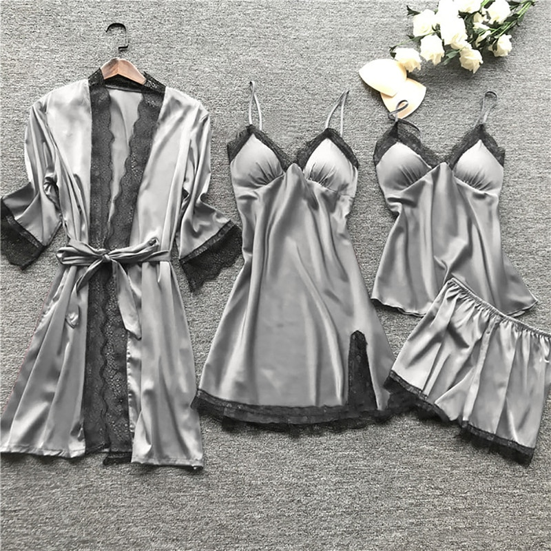 New Women Pajamas Sets Satin Sleepwear Silk 4 Pieces Nightwear Pyjama Spaghetti Strap Lace Sleep Lou
