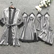 New Women Pajamas Sets Satin Sleepwear Silk 4 Pieces Nightwear Pyjama Spaghetti Strap Lace Sleep Lou