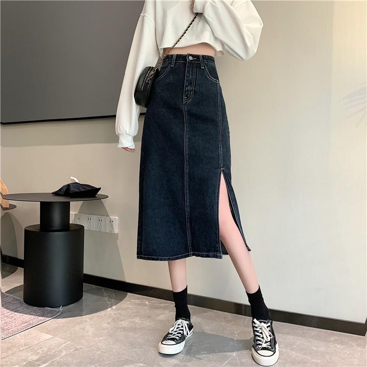 145 Small Denim Skirt Women's 150cm Short Tall 155 Matching Split High Waist A- line Midi Skirt