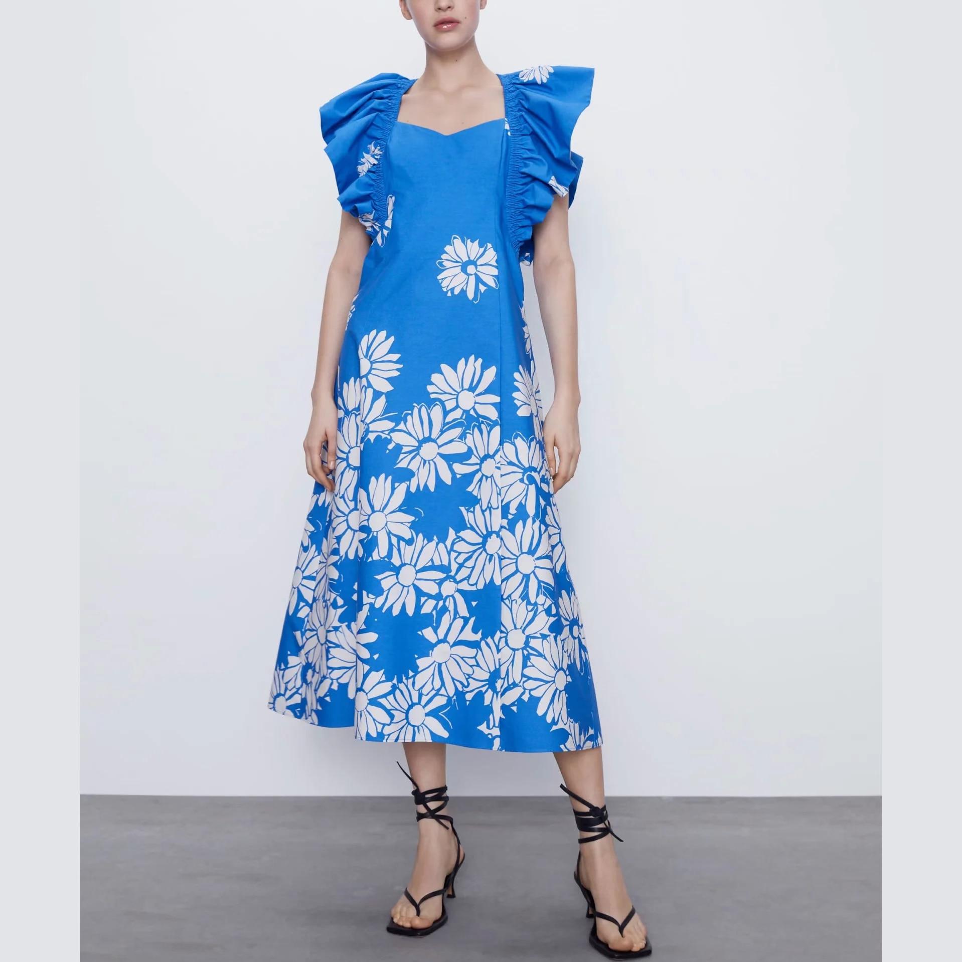 ZA-vestido popelín azul con flores, prenda femenina elegante con estampado floral y hombros descubiertos, estilo casual
